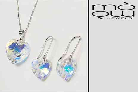 GENOVA INTERNATIONAL - Crystal heart jewellery set including pendant and earrings - Save 92%