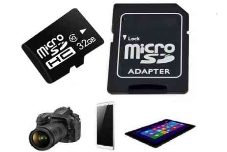 Impress Gadgets - 32GB, 64GB or 128GB micro SD memory card with adaptor - Save 75%