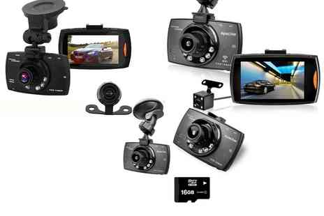 Groupon Goods Global GmbH - Apachie G30, G50 or G100 Hd Front and Rear Dash Cam with Optional 16Gb Sd Card - Save 62%