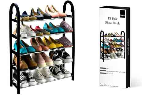 Groupon Goods Global GmbH - One or Two Keplin Five Tier 15 Pair Compact Shoe Racks - Save 0%
