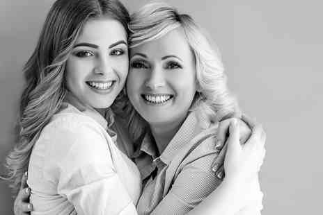 Curves Photography Studios - Mother and daughter makeover photoshoot for two people including a facial, 12 Inch x 8 Inch print and afternoon tea with Prosecco - Save 87%