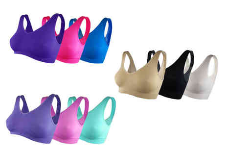 Deals Direct - Pack of three Cascabelle seamless bras choose from three colour sets and six sizes - Save 50%