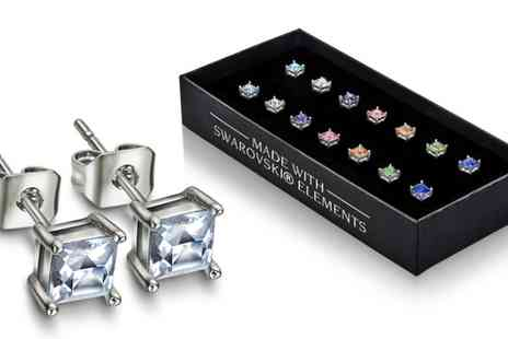 Lily Spencer London - Seven piece set of squared earrings made with crystals from Swarovski - Save 91%