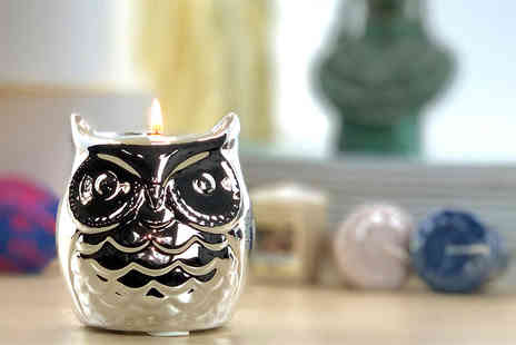 Yankee Bundles - Lucky owl votive holder with three mini Yankee Candles - Save 60%