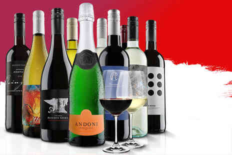 Virgin Wines - 10 bottle collection with two Dartington crystal wine glasses choose between red, white or mixed - Save 62%