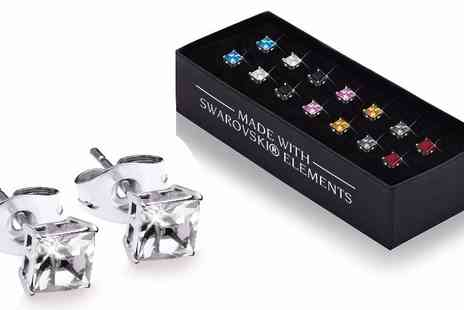 Lily Spencer London - Seven pairs of squared crystal earrings - Save 91%