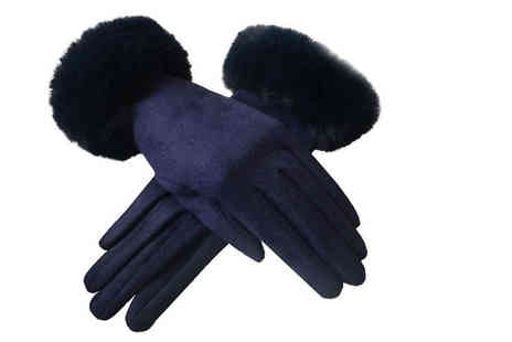 JC Unique - Pair of faux suede gloves with gift box - Save 0%