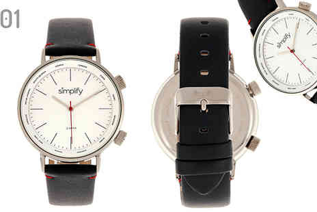 Ideal Deal - Simplify Hinged Genuine Leather Watch Choose from 6 Designs - Save 84%