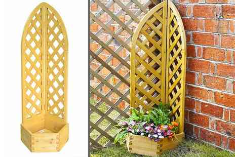Eurotrade - Wooden corner planter with vine lattice - Save 74%
