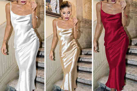 Domo Secret - Silky backless slip dress choose from four colours - Save 50%
