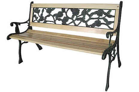 Home Season - Three Seater Weather Resistant Garden Bench Cast Iron Rose Design - Save 60%