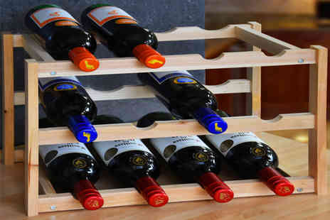Fusion Online - Three tier wooden wine rack choose from two colours - Save 80%