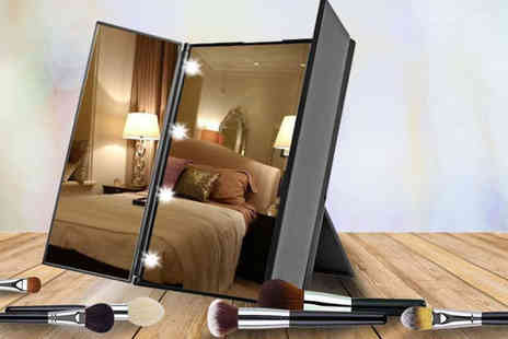 Black Feather - Tri fold Led makeup mirror choose from three colours - Save 83%