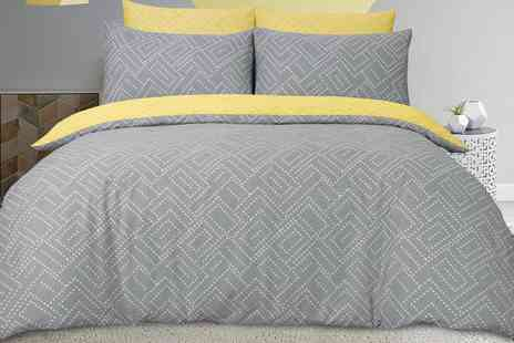 Groupon Goods Global GmbH - Square Dot Geo Reversible Duvet Set in a Choice of Colour - Save 0%