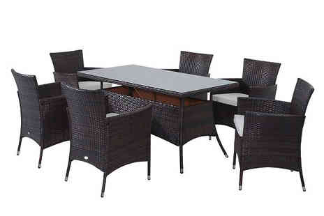 Mhstar - Seven Piece Rattan Outdoor Dining Set Choose Two Colours - Save 46%