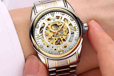 Taylors Jewellery - Automatic Mens Stainless Steel Skeleton Dial Watch Choose from  2 Colours With Free Delivery - Save 87%