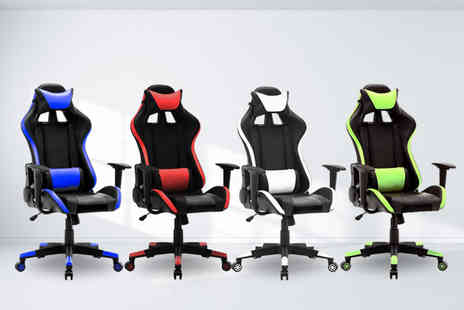 Bells Bay - Reclining gaming chair with lumbar and neck support choose from four colours - Save 67%