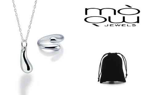GENOVA INTERNATIONAL - Teardrop necklace and open ring set - Save 91%
