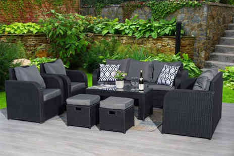 Dreams Outdoors - Yakoe nine seater durable polyrattan sofa and chairs set - Save 55%