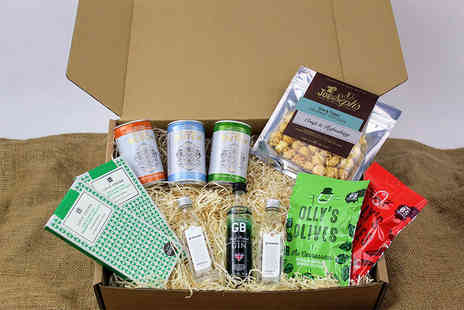 Borough Box - Small Big Night Gin Hamper including gin, tonic and snacks or Large hamper - Save 46%