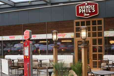 Friendly Phils - Choice of Burger or Hot Dog with Side and Soft Drink for Up to Four - Save 47%