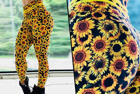Best mall ever - Sunflower Print Leggings Available in 4 Sizes - Save 67%