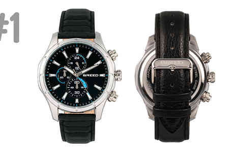 Ideal Deal - Breed Lacroix Chronograph Leather Band Watch Choose from 6 Designs - Save 86%