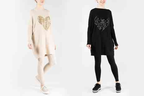 Groupon Goods Global GmbH - QED London Sequin Heart Knitted Oversized Top and Leggings Set  - Save 0%