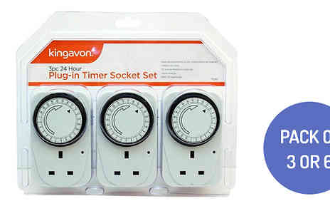 Home Season - 24 Hour Plug in Timer Socket Set Choose from Pack of 3 or 6 - Save 84%
