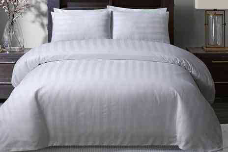 Groupon Goods Global GmbH - Opulent by Sleepdown 300TC So Soft Satin Stripe Duvet Set - Save 0%