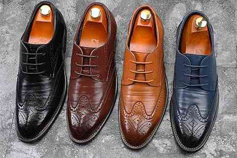 Buy Something - Pair of mens leather brogues choose from four colours - Save 71%