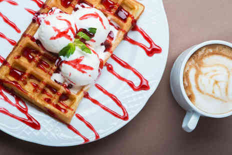 Oddonos Gelati - Belgian waffle with two scoops of Italian gelato, toppings and hot drink for two - Save 51%