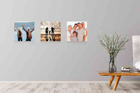 Deco Matters - Set of three square personalised photo canvas panels - Save 87%