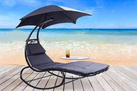Black Feather - Helicopter sun lounger with parasol - Save 55%