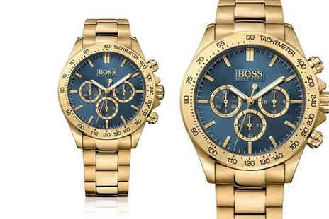 Best Watch Company - Mens gold and blue Hugo Boss Watch - Save 68%