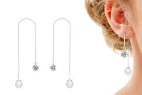 Silver Supermarket - Pair of pearl threading earrings made with crystals from Swarovski choose between two colours - Save 60%