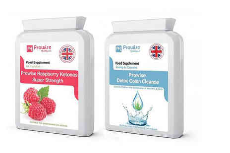Prowise - One month supply of raspberry ketones and detox colon cleanse capsules - Save 75%