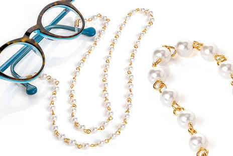 Gemnations - Gold and white pearl effect glasses strap - Save 77%