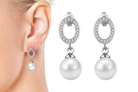 Silver Supermarket - Pair of Philip Jones pearl oval drop earrings made with crystals from Swarovski - Save 58%