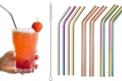 Groupon Goods Global GmbH - 4, 8 or 12 Stainless Steel Reusable Straws with Cleaning Brush - Save 0%