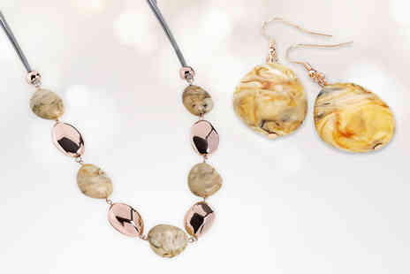 GameChanger Associates - £8.99 instead of £49.99 (from Gem Nations) for a marble effect and rose gold coloured necklace and earring set - Save 82%