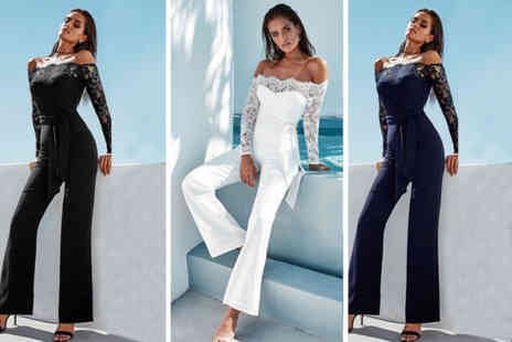 Blu Fish - Bardot lace sleeved jumpsuit choose from three colours - Save 50%