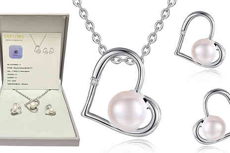 Taylors Jewellery - Genuine Diamond and Freshwater Pearl Pendant And Earring Set - Save 90%