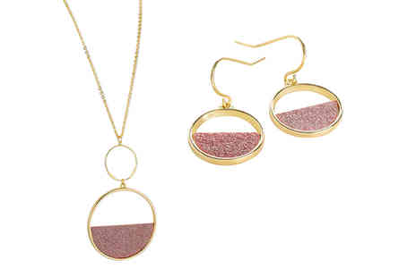 Gemnations - Gold and rose gold coloured glitter disc jewellery set - Save 83%