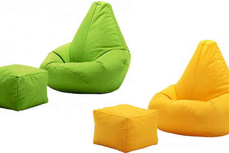 UK Beanbags - Highback Beanbag with Matching Footstool Choose 11 Colours - Save 72%