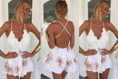 Verso Fashion - Floral backless summer playsuit - Save 62%