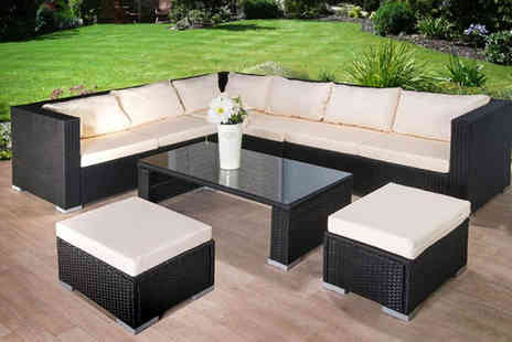 Dining Tables - Nine seater rattan sofa, stool and table set - Save 73%