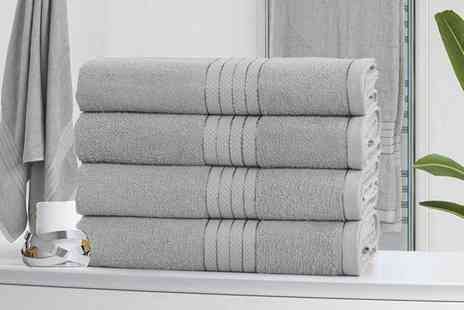 Groundlevel - Set of four Hampton cotton bath sheets choose from eight colours - Save 66%