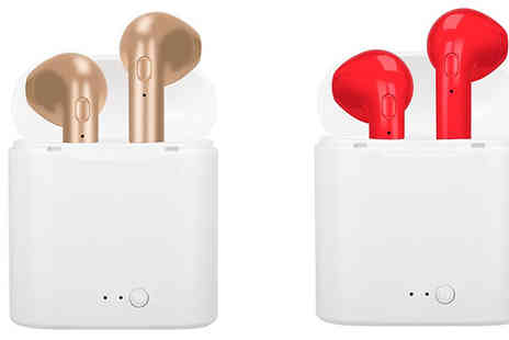 Fantasy Supply - Wireless Apple Compatible Earbuds with Charging Case in 5 Colours Choose 1 or 2 - Save 85%