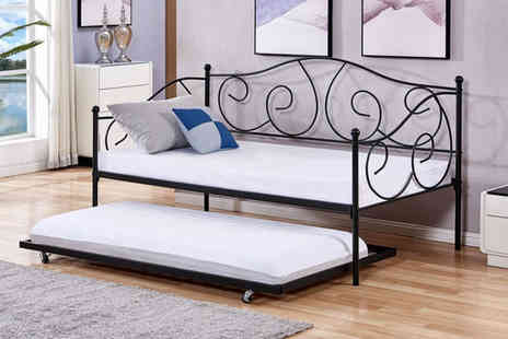 Bells Bay - Metal day bed and matching trundle choose from two colours - Save 58%